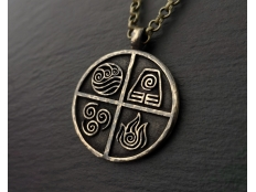 Avatar Last Airbender Air Fire Earth Water Elements Pendant Necklace Jewelry