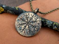 Vegvisir - Viking Compass, Hand Hammered Pendant