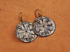 Viking Jewelry Vegvisir Compass To Show Way Earrings
