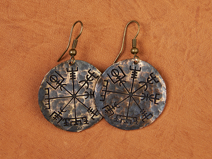 Viking Compass Vegvisir Earrings Jewelry