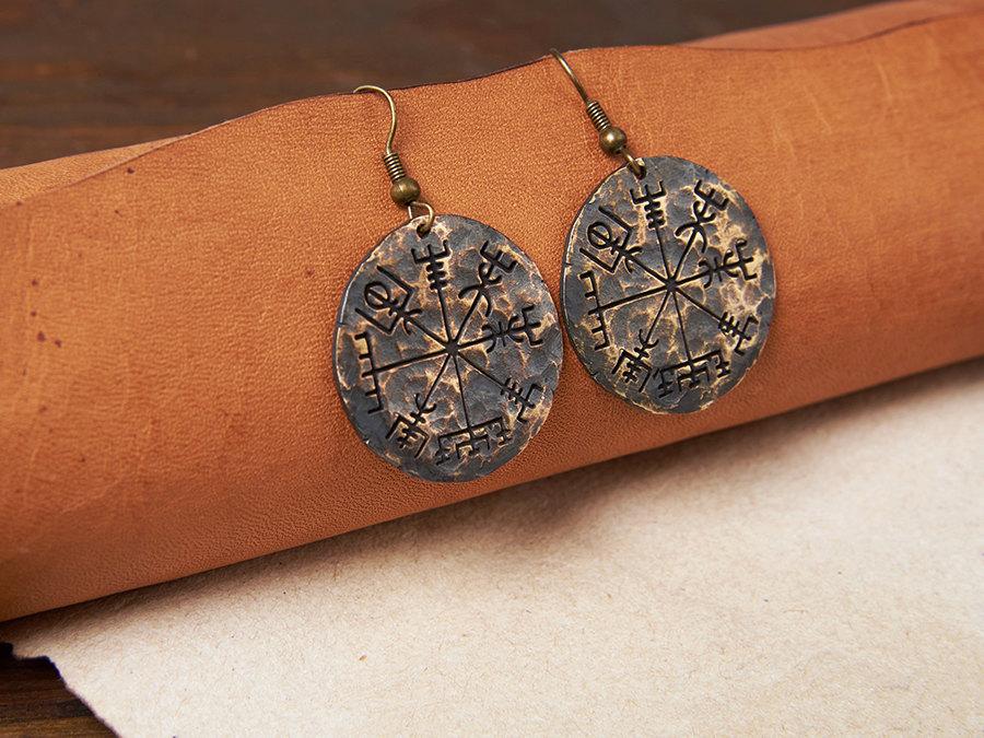 viking compass vegvisir earrings jewelry. Black Bedroom Furniture Sets. Home Design Ideas