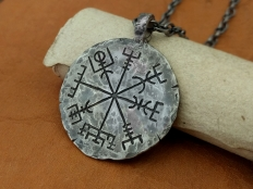 Vegvisir - 925 Sterling Silver Viking Compass, Hand Hammered Pendant