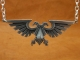 925 Sterling Silver Warhammer Emperor of Mankind Ancient Imperial Aquila Eagle Necklace