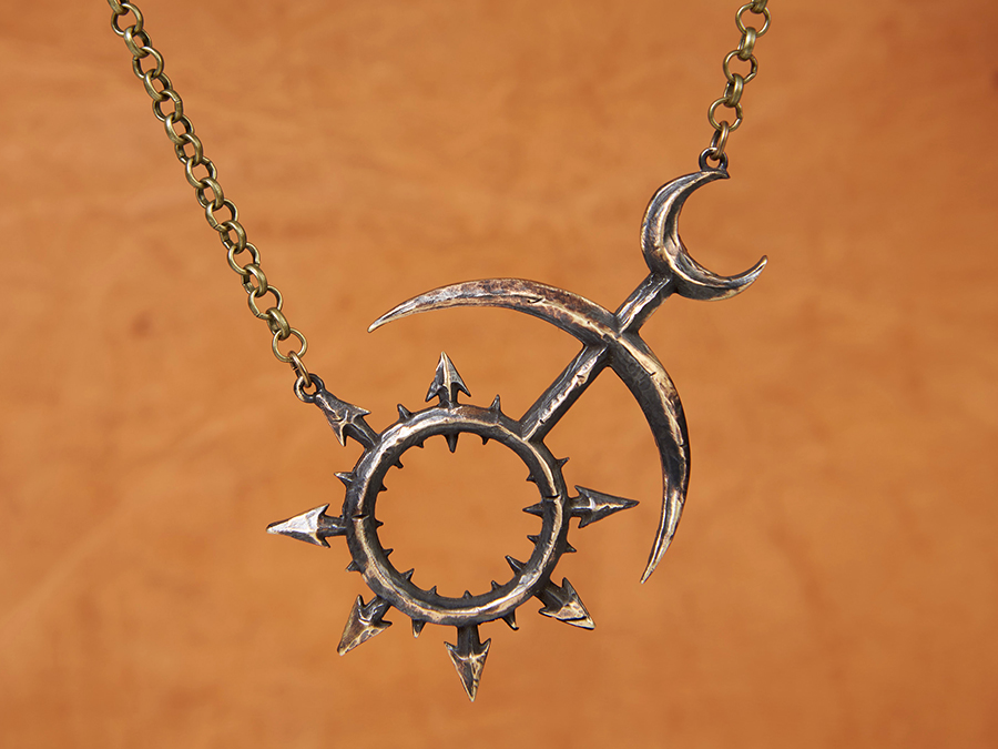 Warhammer 40k chaos slaanesh hand hammered pendant necklace aloadofball Gallery