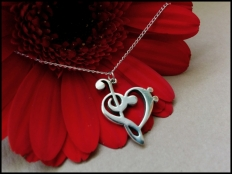 925 Sterling Silver Treble & Bass Clef Heart Pendant